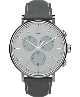 Montre chronomètre Fairfield 41 mm Bracelet en cuir Argenté/Gris large
