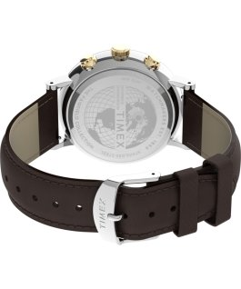 Montre chronomètre Fairfield 41 mm Bracelet en cuir Brun/Bicolore/Brun large
