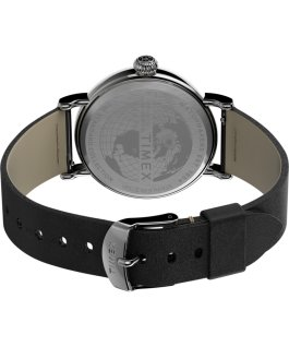 Standard 40mm Leather Strap Watch Silver-Tone/Black/Silver-Tone large