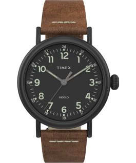 Montre Standard en cuir 40 mm Noir/Marron/Noir large