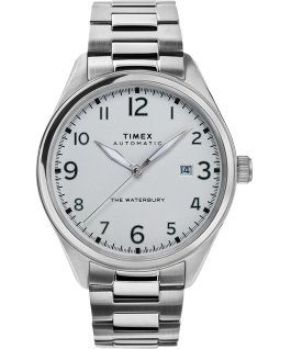 Montre automatique Waterbury Traditional 42 mm Bracelet en acier inoxydable Acier inoxydable/Blanc large