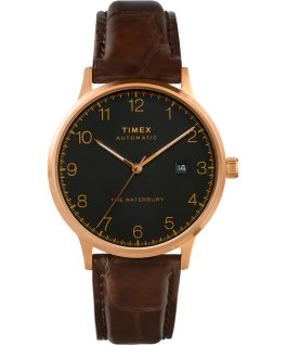 Montre automatique Waterbury Classic 40 mm Bracelet en cuir Rose doré/Marron/Noir large