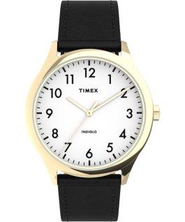Montre Modern Easy Reader 40mm Bracelet en cuir Doré/Noir/Blanc large