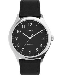 Reloj Easy Reader moderno de 40mm con correa de piel Plateado/Negro large