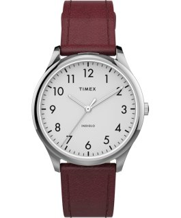 Montre Modern Easy Reader 32 mm Bracelet en cuir Argenté/Rouge/Blanc large