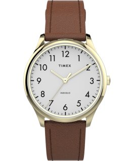 Montre Modern Easy Reader 32 mm Bracelet en cuir Rose doré/Marron/Blanc large