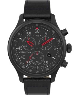 Orologio Expedition Field Chronograph 43 mm con cinturino in pelle Nero large