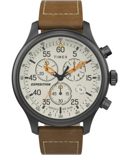 Expedition Field Chronograph mit Lederarmband, 43 mm Metallisch/braun/cremefarben large
