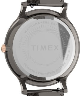 Montre Transcend 38mm Bracelet à milanaise en acier inoxydable Gris métallique/Noir large
