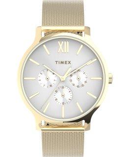 Zegarek Transcend Multifunction 38 mm z siatkową bransoletą ze stali Złoty/Biały large