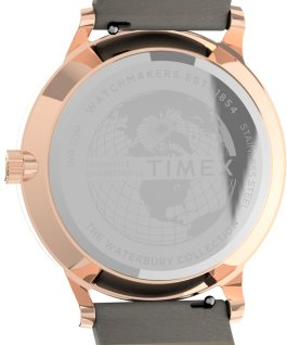 Montre Waterbury Classic 36 mm Bracelet en cuir. Doré rose/Brun/Blanc large
