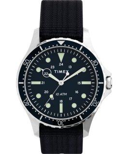Reloj Navi XL de 41mm con correa deslizante de tela Acero inoxidable/Azul large