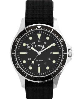 Zegarek Navi XL 41 mm z przewlekanym paskiem materiałowym Stal nierdzewna/Czarny large