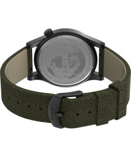 Zegarek Allied z kopertą 40 mm i paskiem materiałowym Stalowoszary/Zielony large