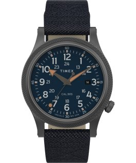 Allied mit Textilarmband, 40 mm Graublau/blau large