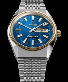 Zegarek Q Timex Reissue Falcon Eye 38 mm ze stalową bransoletą Stal nierdzewna/Niebieski/Złoty large
