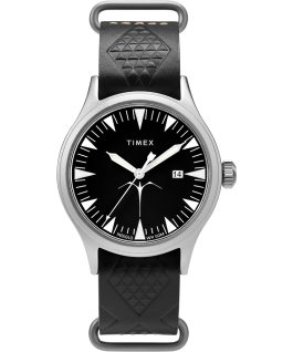 Timex x Keone Nunes 40mm Leather Strap Watch Silver-Tone/Black large