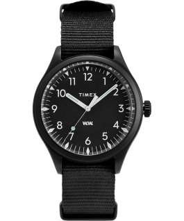 Timex x Wood Wood 38mm Fabric Strap Watch Black large