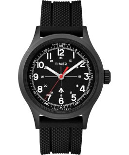 Timex x Todd Snyder Military Inspired 40mm Black PU/Silicone Strap Watch  large