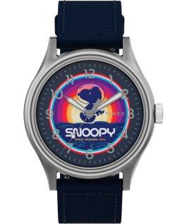 Reloj de acero Timex x Space Snoopy MK1 de 40mm con correa de tela Plateado/Azul large