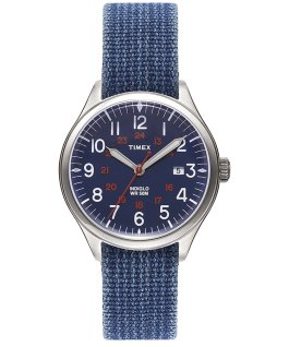 Waterbury United mit Textilarmband im Stonewashed-Stil, 38 mm Blau/blau large