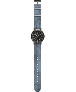 Navi Ocean 38mm Reversible Stonewashed Fabric Strap Watch Black/Blue large
