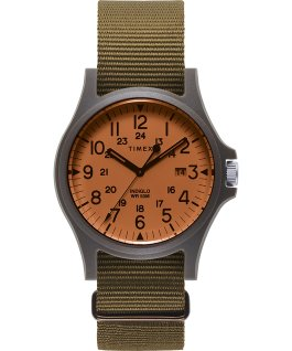 Acadia mit Textilarmband, 40 mm Orange/olivfarben large