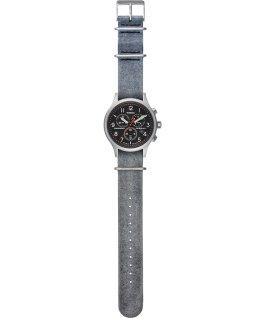 Archive Allied Chronograph mit Lederarmband, 42mm Silberfarben/grau/schwarz large