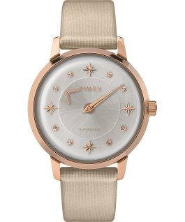Reloj automático Celestial Opulence de 38mm con correa texturizada Tono oro rosa/Champán/Plateado large