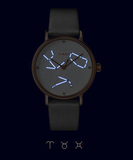 Zegarek Crystal Opulence 37 mm z paskiem materiałowym Różowe złoto/Szary-BARAN, BYK, BLIŹNIĘTA large