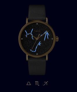 Zegarek Crystal Opulence 37 mm z paskiem materiałowym Złoty/Czarny-WAGA, SKORPION, STRZELEC large