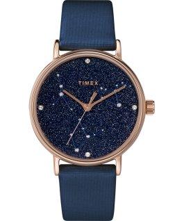 Celestial Opulence 37 mm Armbanduhr mit strukturiertem Armband Roségold/blau-KREBS,LÖWE,JUNGFRAU large