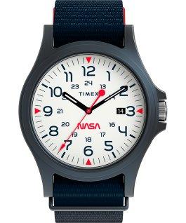 Zegarek Acadia 40 mm z logo NASA na tarczy i paskiem materiałowym Niebieski/Biały large