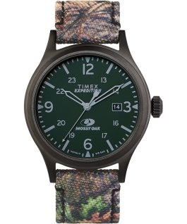 Reloj Expedition Scout Timex x Mossy de 40 mm con correa de tela Negro/Marrón large