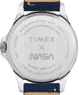 Zegarek Navi XL 41 mm z logo NASA na tarczy i paskiem materiałowym Stal nierdzewna/Niebieski/Biały large