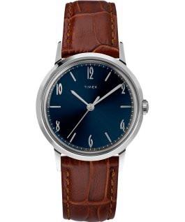 Marlin® 34mm Hand-Wound Leather Strap Watch Stainless-Steel/Brown/Blue large