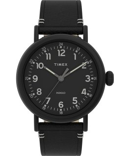 Standard 41mm Leather Strap Watch Black large