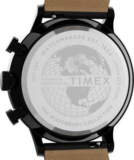 Reloj cronógrafo Waterbury Classic de 40mm con correa de piel y esfera acentuada Negro large