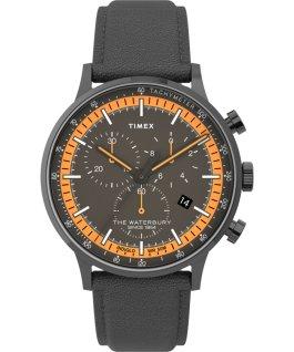 Montre chronomètre Waterbury Classic 40mm Bracelet en cuir avec cadre Gris métallique/Gris large