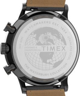 Reloj cronógrafo Waterbury Classic de 40mm con correa de piel y esfera acentuada Gris plomo/gris large
