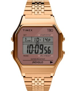 Montre Timex T80 34 mm Bracelet en acier inoxydable Or rose large