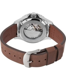Montre automatique Navi XL 41 mm Bracelet en cuir Acier inoxydable/Marron/Rouge large