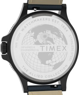 Reloj Allied Coastline de 43 mm con correa de tela Negro/Azul large