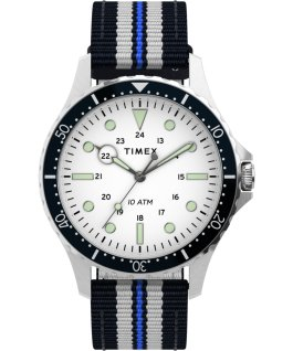Zegarek Navi XL 41 mm z przewlekanym paskiem materiałowym Stal nierdzewna/Niebieski/Biały large