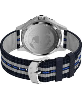 Navi XL 41 mm mit Textil-Zugarmband Edelstahl/blau/weiß large