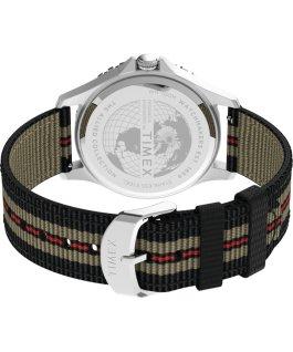 Zegarek Navi XL 41 mm z przewlekanym paskiem materiałowym Stal nierdzewna/Niebieski/Czarny large