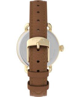 Montre Standard 34mm Bracelet en cuir Doré/Marron/Argenté large