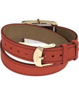 Addison Double Wrap 25mm Leather Strap Watch Gold/Orange large
