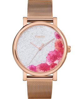 Montre Full Bloom 38 mm avec cristaux Swarovski Bracelet à mailles Or rose/Blanc large
