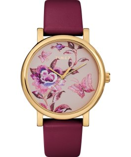 Full Bloom mit Lederarmband, 38 mm Goldfarben/bordeauxrot/rosa large